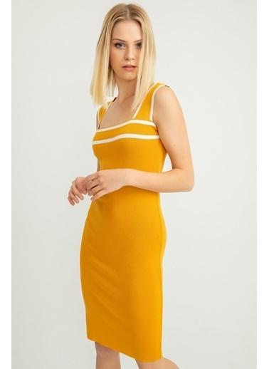 Foremia Triko Şerit Detay Kalın Askılı Elbise Hardal